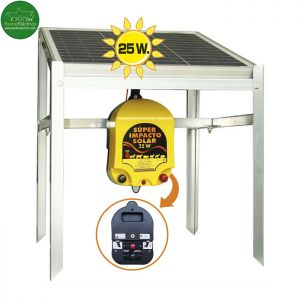 Electrificador Super Impacto Solar 25 W a batería exterior pastor eléctrico