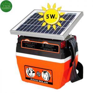 Pastor eléctrico Zako Recargable con panel Solar 5W. y con batería 12V.