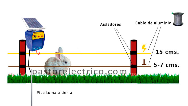 cercado eléctrico para proteger cultivo de conejos