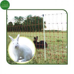 Malla para conejos para conectar un pastor eléctrico. Alto 65 cm y largo 50 metros.