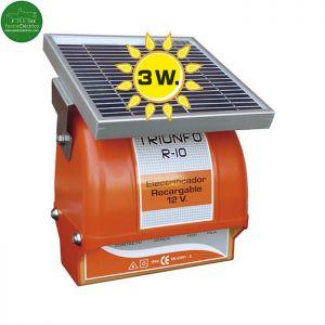 Pastor electrico con placa solar y batería 12 V Triunfo R-10