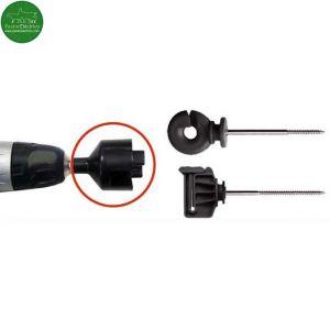 Accesorio montaje aisladores tirafondo para acoplar a un taladro cercas eléctricas